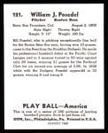 1939 Play Ball Reprint #121  Bill Posedel  Back Thumbnail