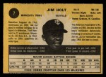 1971 O-Pee-Chee #7  Jim Holt  Back Thumbnail