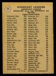 1971 O-Pee-Chee #71   -  Bob Johnson / Mickey Lolich / Sam McDowell AL Strikeout Leaders Back Thumbnail