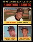 1971 O-Pee-Chee #71   -  Bob Johnson / Mickey Lolich / Sam McDowell AL Strikeout Leaders Front Thumbnail