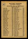 1971 O-Pee-Chee #62   -  Rico Carty / Manny Sanguillen / Joe Torre NL Batting Leaders   Back Thumbnail