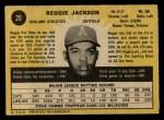1971 O-Pee-Chee #20  Reggie Jackson  Back Thumbnail