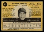 1971 O-Pee-Chee #411  George Spriggs  Back Thumbnail