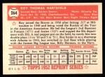 1952 Topps REPRINT #264  Roy Hartsfield  Back Thumbnail