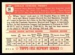 1952 Topps REPRINT #28  Jerry Priddy  Back Thumbnail