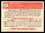 1952 Topps REPRINT #321  Joe Black  Back Thumbnail
