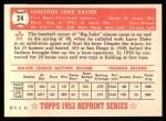 1952 Topps REPRINT #24  Luke Easter  Back Thumbnail