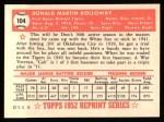 1952 Topps REPRINT #104  Don Kolloway  Back Thumbnail