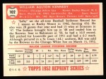 1952 Topps REPRINT #102  Bill Kennedy  Back Thumbnail