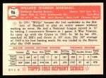 1952 Topps REPRINT #96  Willard Marshall  Back Thumbnail