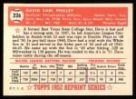 1952 Topps REPRINT #226  Dave Philley  Back Thumbnail
