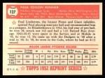 1952 Topps REPRINT #127  Paul Minner  Back Thumbnail