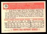 1952 Topps REPRINT #396  Dick Williams  Back Thumbnail
