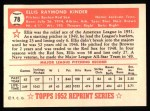 1952 Topps REPRINT #78  Ellis Kinder  Back Thumbnail