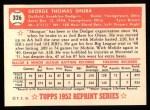 1952 Topps REPRINT #326  George Shuba  Back Thumbnail