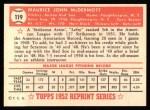 1952 Topps REPRINT #119  Mickey McDermott  Back Thumbnail