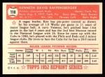 1952 Topps REPRINT #118  Ken Raffensberger  Back Thumbnail