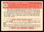1952 Topps REPRINT #366  Dave Madison  Back Thumbnail