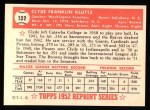 1952 Topps REPRINT #132  Clyde Kluttz  Back Thumbnail