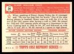 1952 Topps REPRINT #34  Elmer Valo  Back Thumbnail