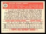 1952 Topps REPRINT #325  Bill Serena  Back Thumbnail