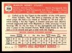 1952 Topps REPRINT #208  Marlin Stuart  Back Thumbnail