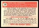 1952 Topps REPRINT #206  Joe Ostrowski  Back Thumbnail