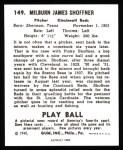 1940 Play Ball Reprint #149  Milt Shoffner  Back Thumbnail