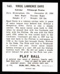 1940 Play Ball Reprint #163  Spud Davis  Back Thumbnail