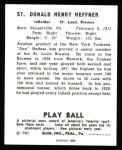 1940 Play Ball Reprint #51  Don Heffner  Back Thumbnail