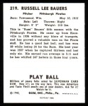 1940 Play Ball Reprint #219  Russ Bauers  Back Thumbnail