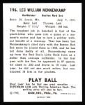 1940 Play Ball Reprint #196  Nonny Nonnenkamp  Back Thumbnail