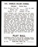 1940 Play Ball Reprint #141  Casey Stengel  Back Thumbnail