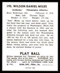 1940 Play Ball Reprint #195  Dee Miles  Back Thumbnail