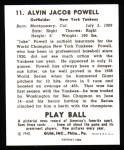 1940 Play Ball Reprint #11  Jake Powell  Back Thumbnail