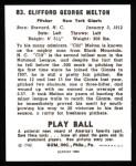 1940 Play Ball Reprint #83  Cliff Melton  Back Thumbnail