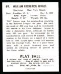 1940 Play Ball Reprint #89  Billy Jurges  Back Thumbnail