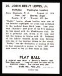 1940 Play Ball Reprint #20  Buddy Lewis  Back Thumbnail