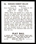 1940 Play Ball Reprint #56  Ed Miller  Back Thumbnail