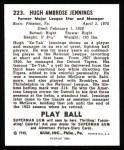 1940 Play Ball Reprint #223  Hughie Jennings  Back Thumbnail