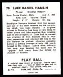 1940 Play Ball Reprint #70  Jonas Hamlin  Back Thumbnail