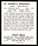 1940 Play Ball Reprint #28  Gene Desautels  Back Thumbnail