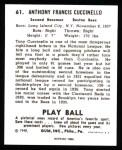 1940 Play Ball Reprint #61  Tony Cuccinello  Back Thumbnail
