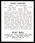 1940 Play Ball Reprint #2  Art Jorgens  Back Thumbnail