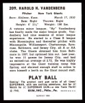 1940 Play Ball Reprint #209  Hy Vandenberg  Back Thumbnail