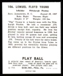 1940 Play Ball Reprint #106  Pep Young  Back Thumbnail