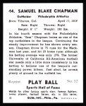 1941 Play Ball Reprint #44  Sam Chapman  Back Thumbnail
