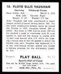 1941 Play Ball Reprint #10  Arky Vaughan  Back Thumbnail