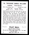 1941 Play Ball Reprint #14  Ted Williams  Back Thumbnail