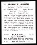 1941 Play Ball Reprint #39  Tommy Henrich  Back Thumbnail
